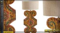 Grande lampe de salon de style ethnique en acajou sculpté avec abat-jour en jute 90 cm