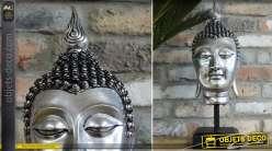 Statuette tête de bouddha argenté sur socle en métal noir 54 cm