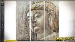 Grand tableau en triptyque 150x150 tête de bouddha peinte à la main sur bois