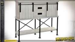 Console gris clair et noir bois et métal avec 2 plateaux style cottage