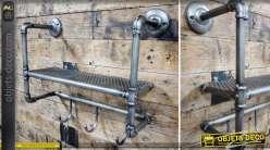 Etagère murale en tuyaux de plomberie gris avec 3 crochets de suspension 44 cm