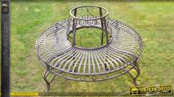 Banc d'arbre circulaire en métal et fer forgé couleur gris métal Ø 140 cm