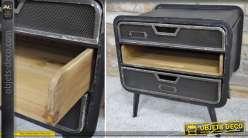 Table de chevet de style industriel et rétro 2 tiroirs 1 bac coulissant 51 cm