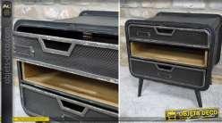 Table de chevet de style industriel et r tro 2 tiroirs 1 Table de chevet style industriel