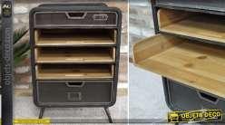 Chiffonnier de style industriel et brocante en bois naturel et métal patine noir