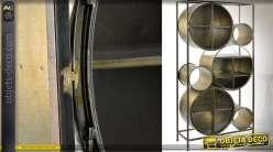 Meuble vitrine original inspiration rétro et industrielle formes cylindriques 181 cm
