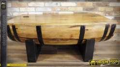 Table basse en acacia massif et métal forme demi-tonneau avec coffre 120 cm