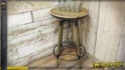 Table bar ronde en bois et métal avec plateau réglable en hauteur 119 cm