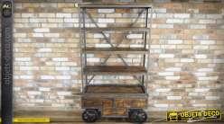 Bibliothèque industrielle bois et métal sur base draisine avec 3 tiroirs 177 cm