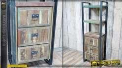 Meuble étagère bibliothèque vertical avec caisson 3 tiroirs style industriel 175 cm
