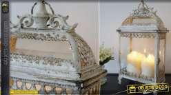 Grande lanterne rectangulaire rétro et romantique en métal gris antique 50 cm