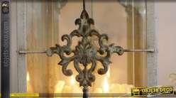 Grande lanterne rétro et romantique en métal patine gris clair 73 cm