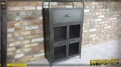 Petit buffet en métal noir de style industriel et rétro 2 portes et 1 tiroir