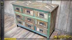 Commode rétro à 9 tiroirs en bois recyclé marqueté style atelier d'autrefois