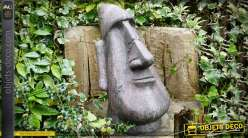 Statue tête Moaï géant de l'île de Pâque en pierre reconstituée 63 cm