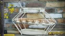 Support porte-bougies en métal de style rétro patine blanche 6 points lumineux 50 cm