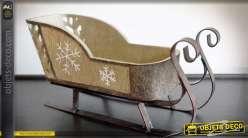 Traineau décoration de Noël en bois et métal 30 cm