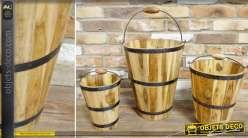 Série de 3 seaux en bois naturel avec cerclages en métal noir  style rustique