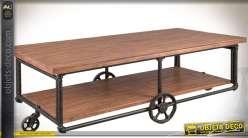 Table basse industrielle bois et métal plateaux superposés 150 x 74 cm