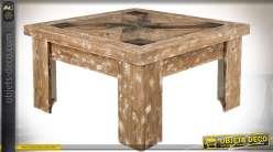 Table basse carrée style rustique et massif plateau effet marqueterie 90 x 90 cm