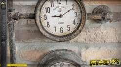 Horloge à 3 cadrans façon compteurs d'ancienne installation de plomberie 68 cm