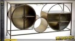 Console design en métal doré et cuivré style Art Déco et formes géométriques