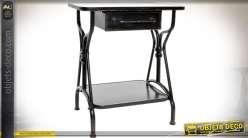 Table de chevet noire rétro bois et métal avec 2 plateaux et 1 tiroir 70 cm