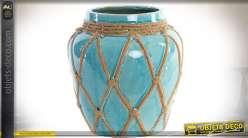 Vase céramique vernissée craquelée turquoise et effet cordages 27 cm