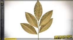 Grande décoration murale en forme de feuilles d'arbres dorées 82 x 66 cm
