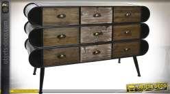 Commode à 9 tiroirs en bois et métal de style vintage et industriel