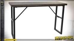 Console industrielle en bois vieilli et métal noir esprit atelier 120 cm