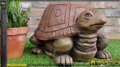 Pouf / tabouret original en forme de tortue imitation bois 45 cm