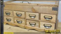 Meuble de rangement en bois et métal avec vitrine et 8 tiroirs 53 cm
