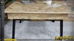 Table basse rétro et brocante en mango effet marqueterie 71 x 71 cm
