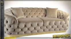 Grand canapé 3 places style lounge chic tissu capitonné beige 2,22 mètres
