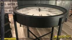 Mini table basse horloge rétro en métal noir mat 40 cm
