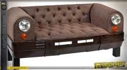 Canapé en forme de calandre de voiture en métal et similicuir marron 160 cm