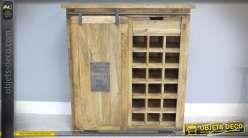 Meuble bar bois massif et métal rustique et indus avec porte coulissante 100 cm