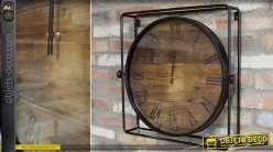 Horloge de style industriel bois vieilli et métal noir 55 cm