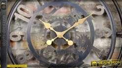 Horloge murale style indus tuyaux de plomberie et engrenages métal vieilli Ø 60 cm