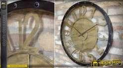 Grande horloge murale ronde en métal noir et doré style industriel Ø 70 cm