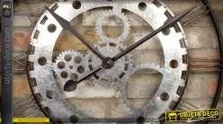 Horloge murale industrielle noir et argent Ø 73 cm