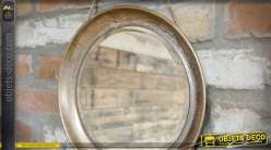 Miroir rond suspendu en métal finition cuivrée vieillie Ø 31 cm