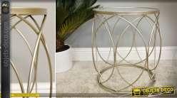 Bout de canapé en métal et verre style design patine or vermeille 47 cm