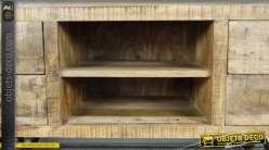 Meuble TV style wagonnet industriel en bois massif et métal 120 cm