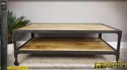 Table basse syle indus à deux plateaux en bois et métal 123 x 72 cm