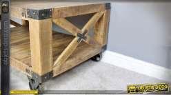 Table basse wagonnet industriel bois massif et métal à 2 plateaux 121 cm