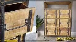 Commode buffet à 6 tiroirs de style industriel et bois et métal 100 cm