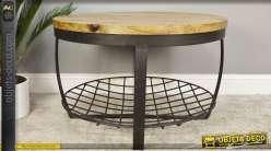 Table basse ronde industrielle et rustique en bois et métal Ø 73 cm