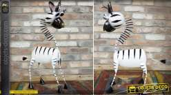 Animal décoratif stylisé en métal peint : le zèbre 72 cm
